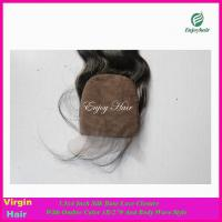 Silk lace closure 3.5''x4'' peruvian virgin hair ombre1b/27# color,body wave hair stock Manufactures