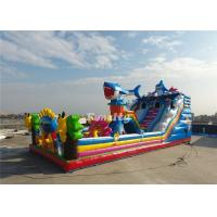 Commercial Inflatable Slide 0.55MM Thickness Plato PVC Tarpaulin Gaint Fun City Manufactures