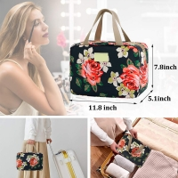 Floral Oxford Cosmetic Toiletry Bag For Women Manufactures