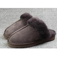 China Indoor Men Shearling Sheep Wool Slippers Warm With Australian Sheepskin on sale