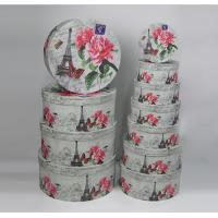 Quality Environmentally Friendly Round Gift Boxes With Lids White Flower And Tower Design for sale
