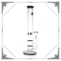 17'' Grace Straight Tube Glass Water Pipe With Double Honeycomb Perc Hookah Bong Manufactures