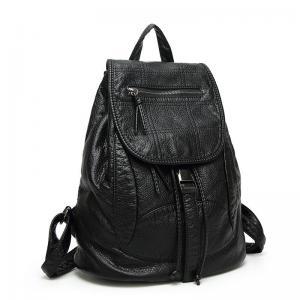 Drawstring Fashion Ladies Backpack Washed Leather With Adjustable Shoulder Strap Manufactures