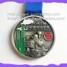 Engraved color fill metal Marathon medals, China maker OEM engraved ribbon medals Manufactures