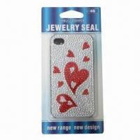 Sticker for iPhone 4 in Heart Design, Available with Plastic Case, Safe and Non-toxic Manufactures