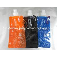 Orange / Blue Plastic Water Bags Stand Up Pouch With Spout Packaging Manufactures