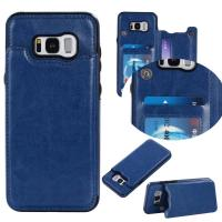 Quality Dark - Blue Galaxy S8 Plus Wallet Case Crazy Horse Business Use With Holder for sale
