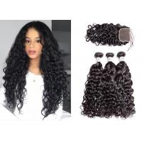 Black 3 Hair Bundles With Closure , Woman Brazilian Virgin Hair Water Wave Manufactures