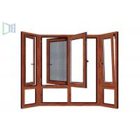 Wooden Color Swing Open style Aluminum Hinged Window With Fly Screen Manufactures