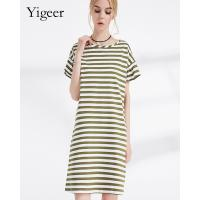 100% Cotton Short Sleeve O Neck Parallel Stripe Long Slimming Dress Manufactures