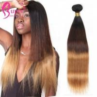 China Dark Root Blonde Ombre Hair Extensions , Brown 3 Tone 1b 4 27 Silky Straight Bundles on sale