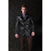 Popular Style Warm Lining Custom Colors Gentleman jacket , Mens Leather Suits For Adults Manufactures