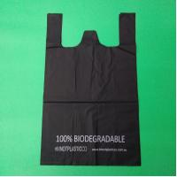100% biodegradable and compostable shopping bag, black color, size 0.025mm x (30+15)x50cm, withstand 5kg Manufactures