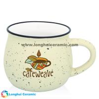 China Custom two-tone white interior color speckle outerior diner campfire coffee mug on sale