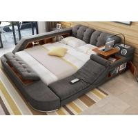 Grey Color Modular Wooden Bedroom Set Soft Fabric King-Size Double Bed Manufactures