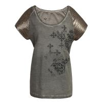 Grey Casual Ladies Clothing / lady's t shirt With Sequins and Embroidery Manufactures