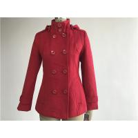 Professional Ladies Wool Coat Red Color With Detachable Hood TW56073 Manufactures
