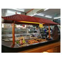 Quality Boat Shaped Commercial Buffet Equipment Mahogany Made Refrigerated Sushi Buffet Counter for sale