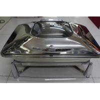 Rectangular Stainless Steel Cookwares with Glass Window Mechanical Hinge Lid / Hydraulic Induction Chafing Dish Manufactures