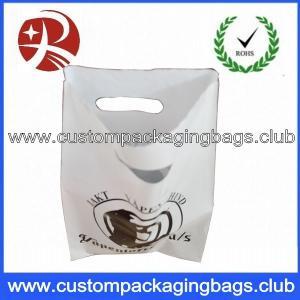 LDPE 60 MicronsWhite Color Die Cut Handle Plastic Bags With OEM Custom Logo Printing