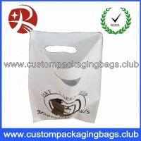 Quality LDPE 60 MicronsWhite Color Die Cut Handle Plastic Bags With OEM Custom Logo Printing for sale