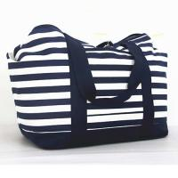Customized 20oz Canvas Large Stripe Women Tote Bag With Small Pocket Inside Manufactures