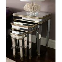 3 Set Mirrored Side Tables For Bedroom , Silver Modern Mirrored Furniture Manufactures