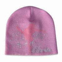 Women's Knitted Hat with Silver Metallic Embroidery, Made of Acrylic Manufactures