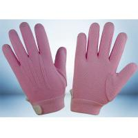 Dyed Colors Cotton Work Gloves Magic Tape On Wrist 145gsm Fabric Weight Manufactures