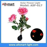 3LED Pink Solar Powered Rose Flower Light Outdoor Lamp Stake for Home Garden Yard Lawn Pathway Party Decor Landscape Manufactures