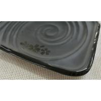 Quality Japanese-style Rectangular Sushi Plate Black Melamine Dinnerware Weight 264g for sale