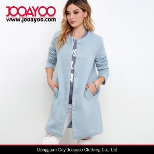 Ladies Collarless Long Sleeve Light Blue Wool Long Winter Coat Manufactures