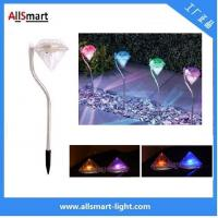 Outdoor Stainless Steel LED Solar spike Path Way Light RGB Diamond Garden Lawn Landscape Lamp Manufactures