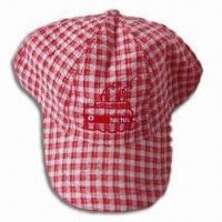 6-panel Girl's Baseball Hat, Made of Cotton Plaid Fabric with Velcro on Back Manufactures