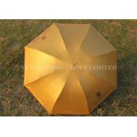 "Solid Color Gold Totes Windproof Folding Umbrella For Ladies 21"" X 8k Size"