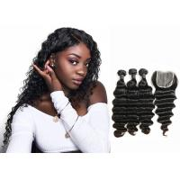 Double Sewed Weft 8A Virgin Brazilian Hair Extensions Deep Wave With Frontal Manufactures