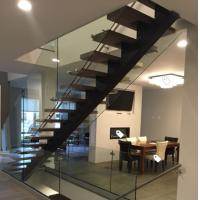 Classic european style black stair steel tread staircase Manufactures
