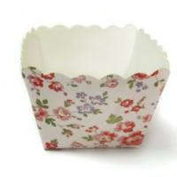 Quality Square Cake Cup Garden Flower Decorative Cupcake Wrappers of party cups personalized for sale