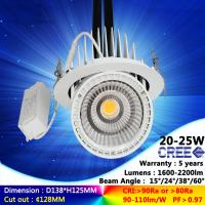 2700K-6500K 20W recessed spotlight COB ceiling light high brightness cree downlight Manufactures