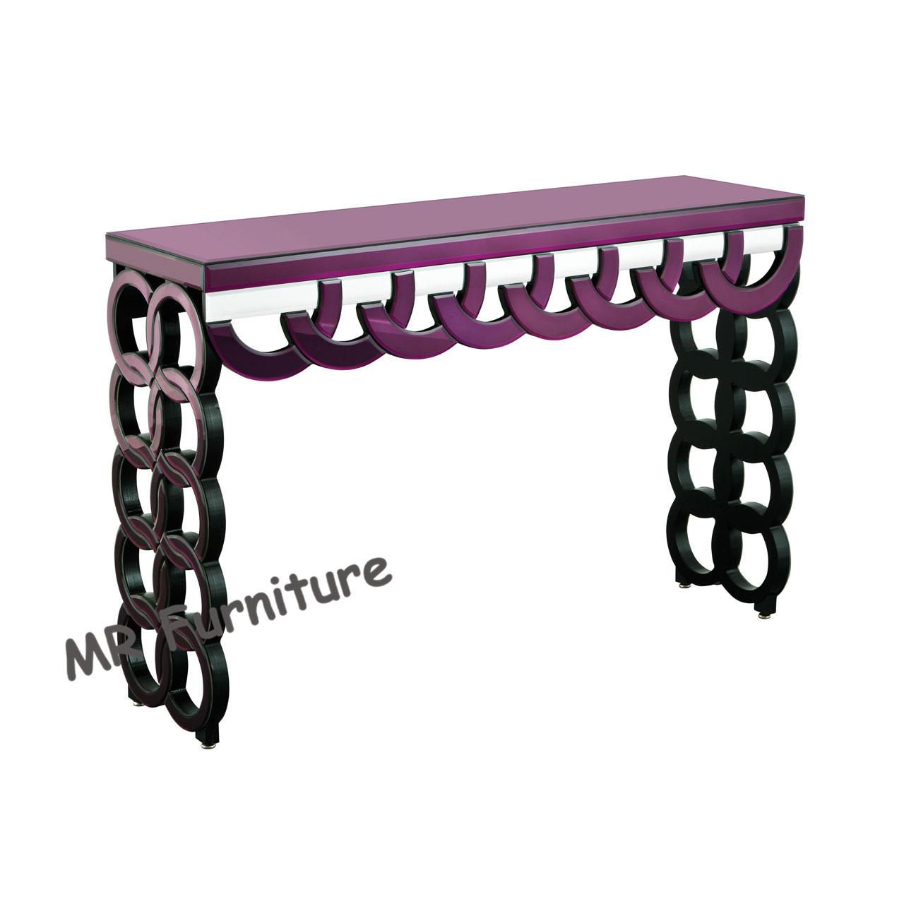 Quality Purple Mirrored Hall Table , 100 * 35 * 78cm Glass Mirror Hallway Console Table for sale