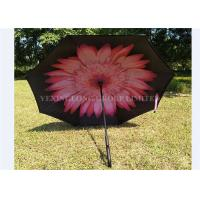UV Protection C Handle Inverted Umbrella , Upside Down Folding Umbrella Flower Print Manufactures