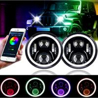 3700lm Jeep Wrangler Headlights , 7 Inch Round LED Headlights RGB Halo with Angel Eyes Manufactures