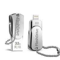Lighting OTG Phone USB Flash Drive , iPhone Swivel Metal 32GB USB Memory Stick Manufactures