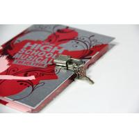 Promotional Custom Notebook Printing With Lock , Silver Card Cover / Sewing Binding Manufactures