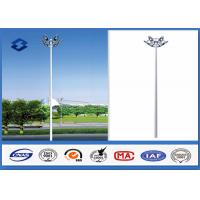 Dodecagonal Hot dip galvanized led High Mast Light Pole 15m Height 5mm Thickness Manufactures