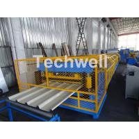 Customized Trapezoidal Profile Roof Roll Forming Machine With Hydraulic Post Cutting Device Manufactures
