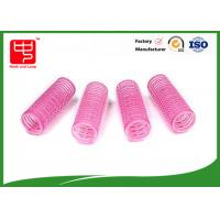Diameter 22mm lovely pink hook and loop Hair Rollers hook and loop with plastic core Manufactures