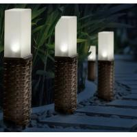 Quality Rattan Solar Post Lights , Cold White LED Light For Garden Decorative for sale