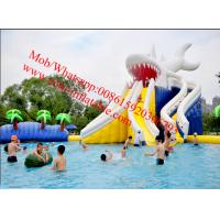 Gaint Water slide inflatable pool withJumping Bouncer water park slides for sale Manufactures