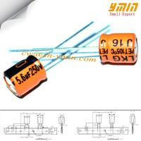 Buy cheap 5.6uF 250V 8x9mm Capacitor LKG Series 105°C 8,000 ~ 12,000 Hours Radial Aluminum Electrolytic Capacitor RoHS Compliant from wholesalers